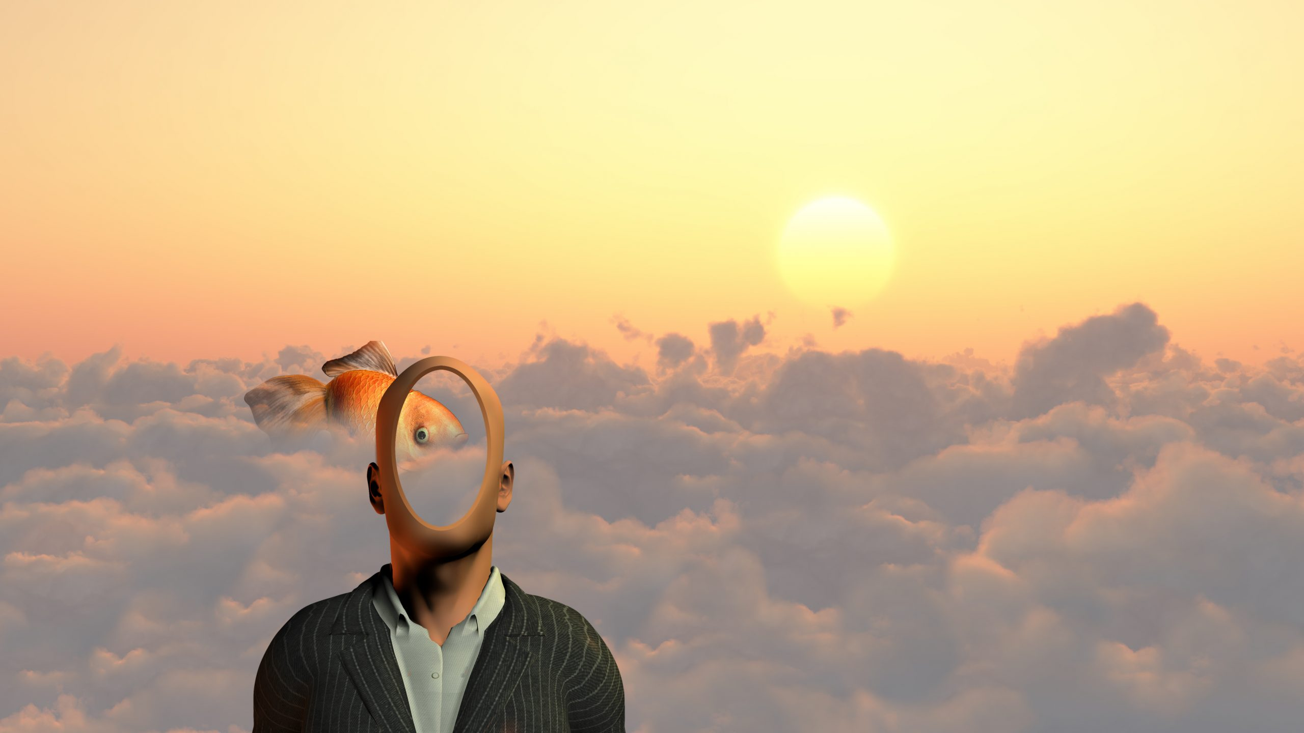 Faceless man above clouds. Golden fish